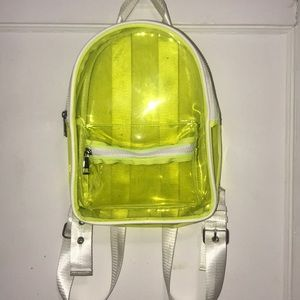 Clear Lime green Backpack